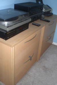My stereo equipment and fax fit perfectly on the two lateral file cabinets