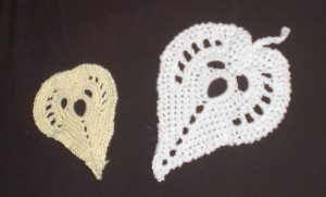 Arrowhead Leaves in pale yellow and white - free crochet pattern